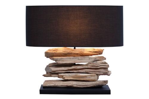 Treibholz Tischlampe Treibholzlampe Schwemmholz Massivholz Lampe GENUA schwarz