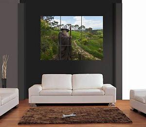 Image is loading GANDALF-IN-HOBBITON-LORD-OF-THE-RINGS-Giant- & GANDALF IN HOBBITON LORD OF THE RINGS Giant Wall Art Print Picture ...