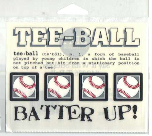 Say It With Stickers TEE-BALL CLEAR STICKER Sheet scrapbooking BATTER UP!