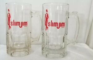Two-Slim-Jim-Vintage-24-Oz-Beer-Mugs-Steins-Soda-Excellent-Glass-Collectable