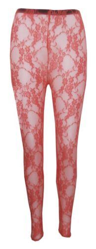 New Womens Floral Lace Full Length Leggings 8-14