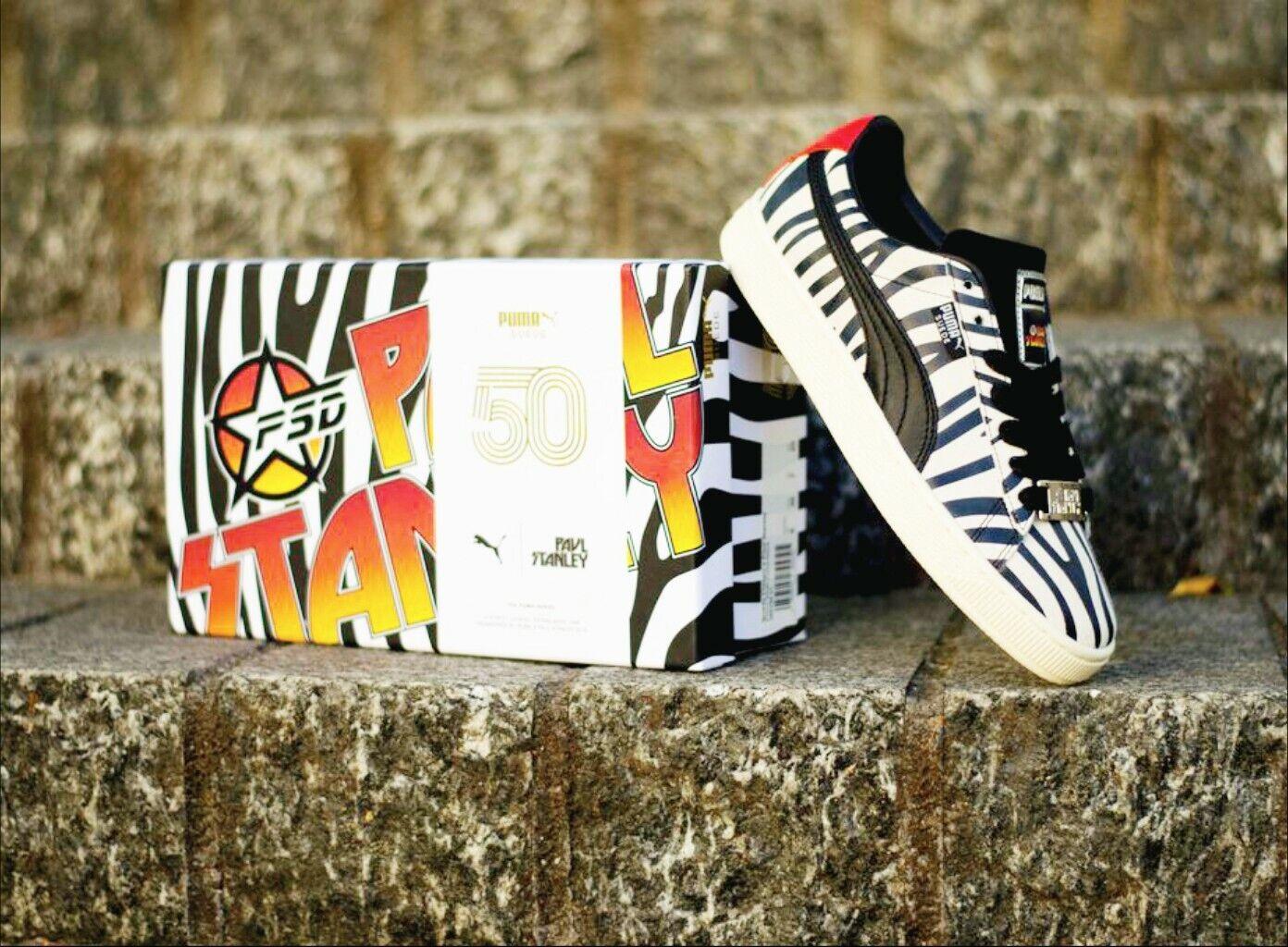 Pièce de collection rare Paul Stanley x Puma Daim Zebra baskets Taille 10 hommes vintage