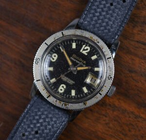 Vintage-BULOVA-666-Stainless-Steel-Diver-Automatic-Men-039-s-Watch