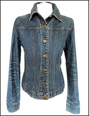 LAURA ASHLEY • DESIGNER BLUE DENIM JACKET FESTIVAL GRUNGE ROCK BIKER COWGIRL 12