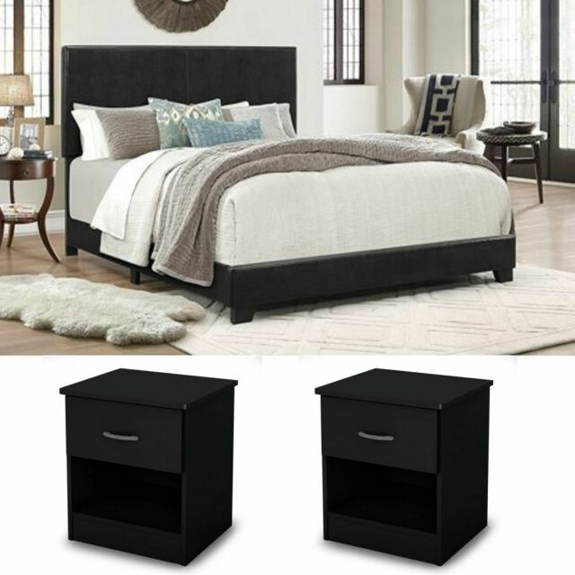 3 Piece Bedroom Set Furniture Full Size Gray 2 Fabric Nightstands Bed Headboard For Sale Online Ebay