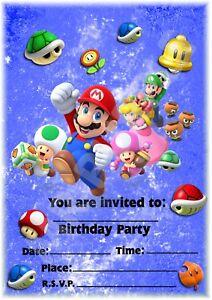 Super-Mario-Cast-A5-Kids-Children-039-s-Party-Invitations-x-12-Portrait-Design