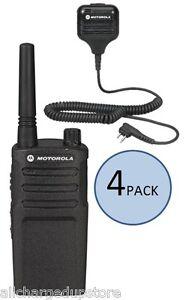 4-Motorola-RMU2040-UHF-Two-Way-Radios-w-4-Motorola-Speaker-Mics-Ships-Free
