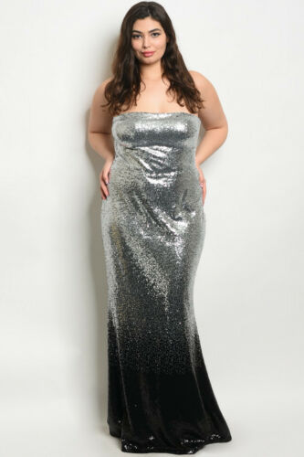Womens Plus Size Silver and Black Sequin Strapless Maxi Dress Gown 1X New