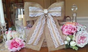 Burlap-Bow-Wedding-Bow-Burlap-Wedding-Rustic-Wedding-Chair-Bow-Lace-Bow