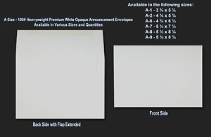 Various Quantities A1▪A2▪A6▪A7▪A8▪A9 100# White Thick Announcement Envelopes