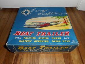 Vintage YONEZAWA Japan LANG Craft Boat Trailer Station Wagon TOY RARE BOX ONLY
