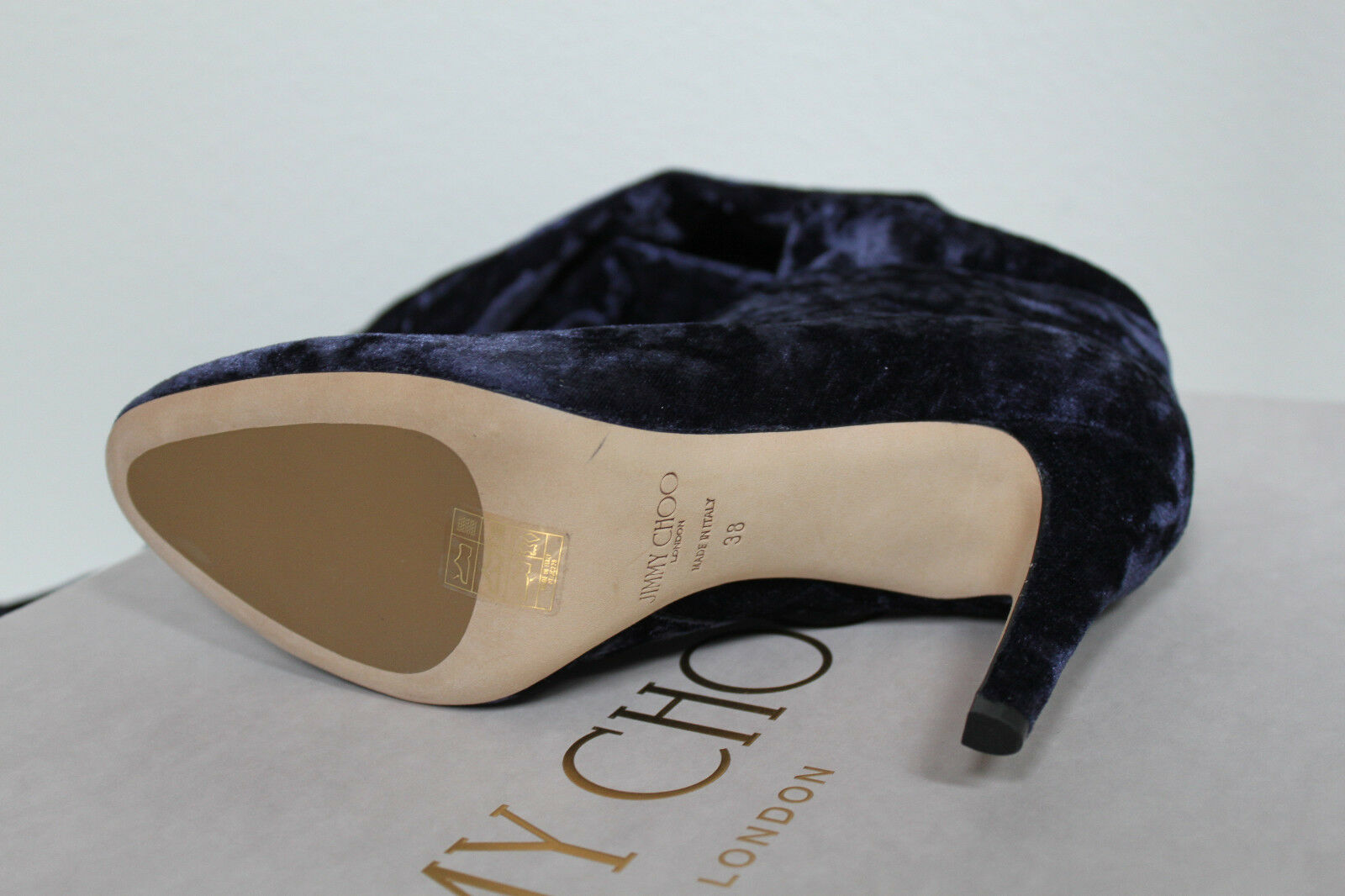 New sz 8   38 Jimmy Choo Toni Knee Navy Blau Over The Knee Toni Stretch Velvet Stiefel schuhe 2254ed