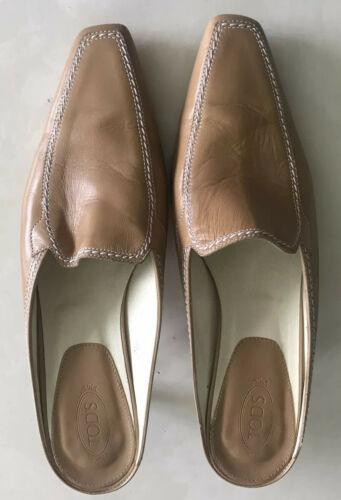 Authentic Tods Tan  Leather Tods Mules Size 39