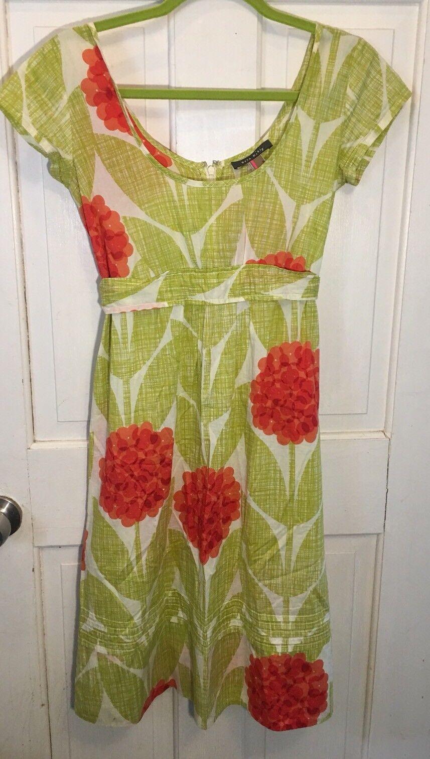 Rare Anthropologie Orla Kiely Floral Geranium Stem Dress M Euc