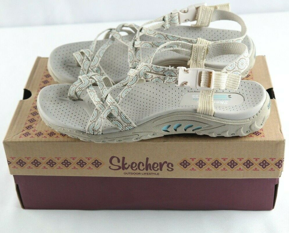 Skechers Reggae Happy Rainbow Sandals Womens Sz 7 Natural Tan shoes