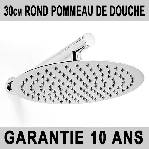603R 30cm ROND POMMEAU DE DOUCHE BRAS DE DOUCHE ACIER CHROME PLUIE NEUF