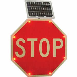 Solar Powered Flashing LED Stop Sign, Octagon