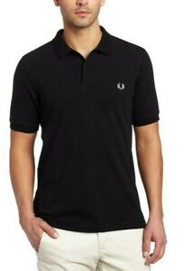 Fred-Perry-Men-039-s-NEW-Plain-Polo-Shirt-Short-Sleeve-Solid-Blue-Black-100-Cotton