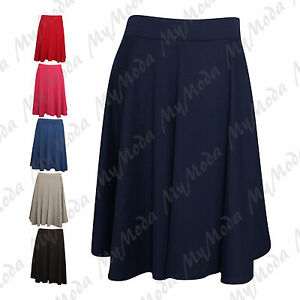 Ladies-Women-039-s-Plain-Stretchy-Elasticated-Flared-Skater-Skirt-Plus-Size-14-28