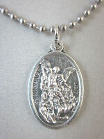 St Michael Archangel /guardian Angel Medal Italy Pendant Necklace 24 Ball Chain
