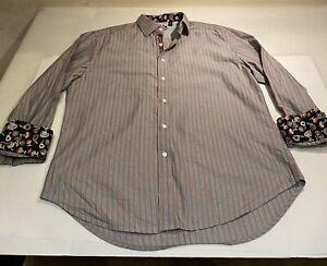 Robert-Graham-Sz-XL-Multicolor-Striped-L-S-100-Cotton-Button-Shirt-W-Flip-Cuff