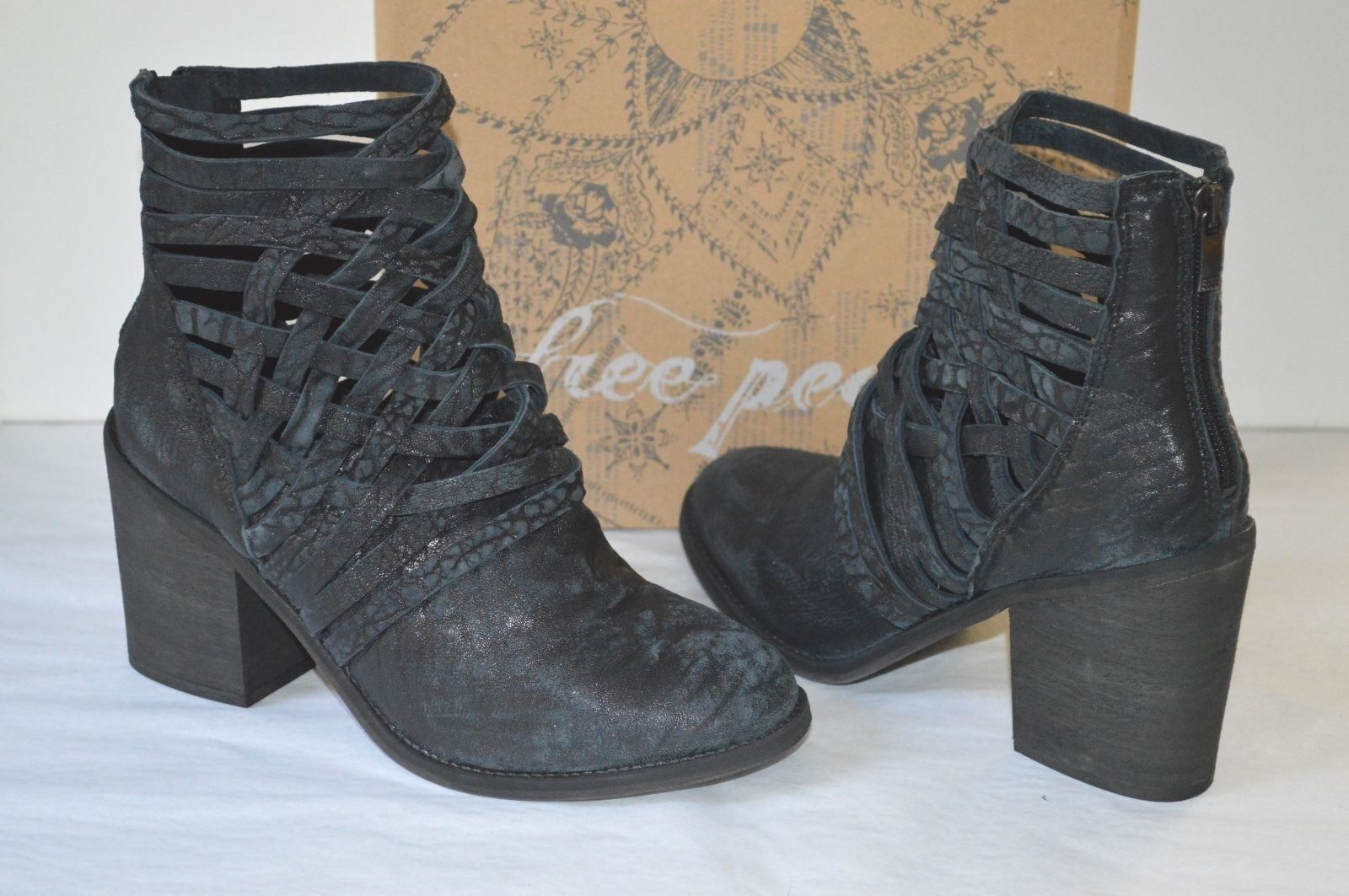 New $198 Free People Carrera Heel Bootie/Boots/Ankle/Short Black Leather SoldOut