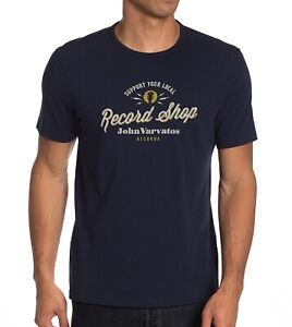 John-Varvatos-Star-USA-Men-039-s-Support-Your-Local-Record-Shop-Crew-T-Shirt-Navy