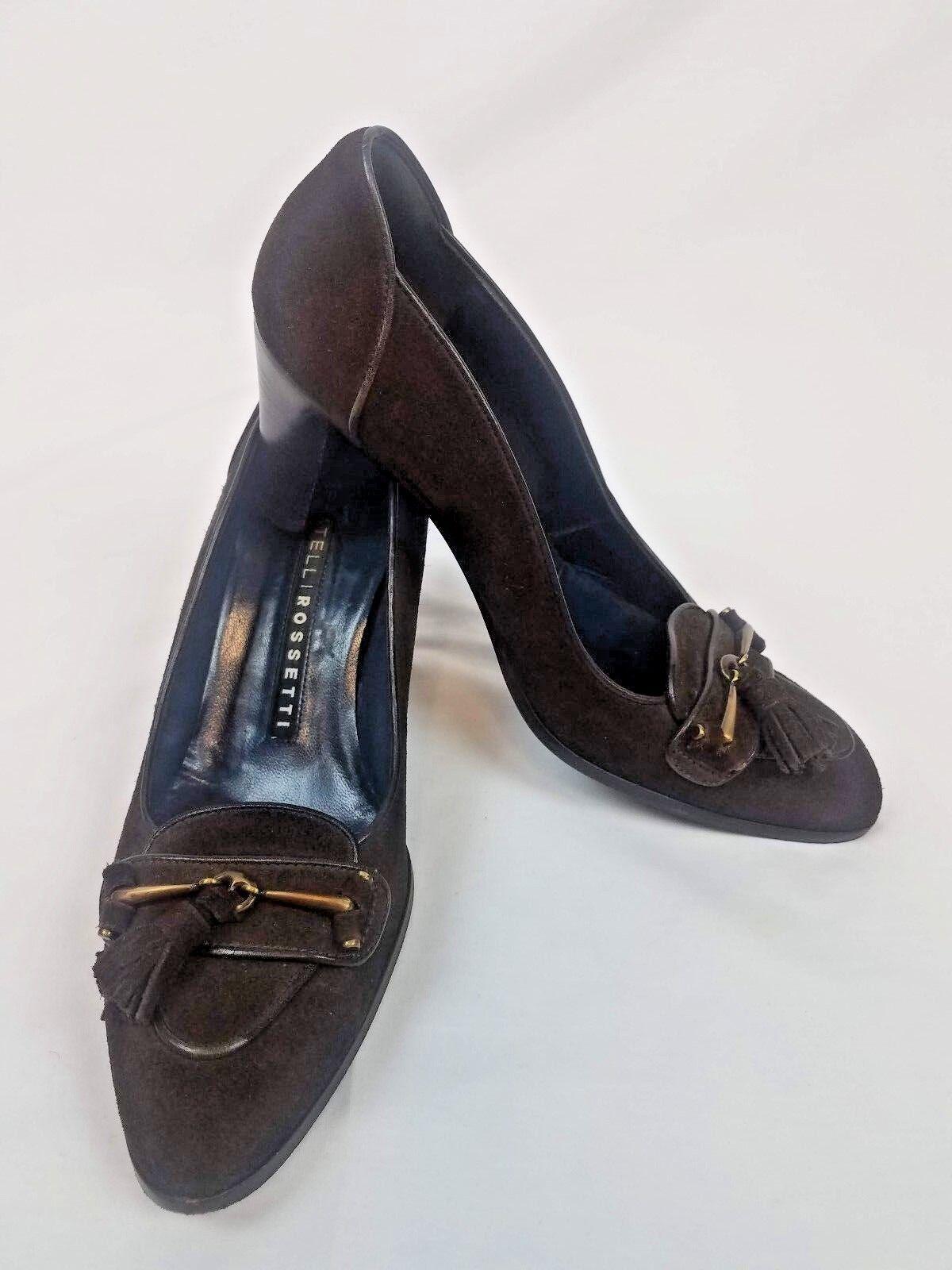 alto sconto Fratelli rosatti Marrone Leather Horsebit Tassle Tassle Tassle High Heel Pumps donna Sz US 7  acquista marca