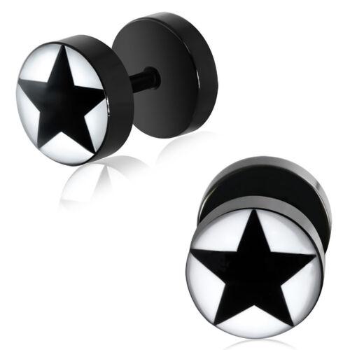 Fake Plug Piercing Rebell Stern Star Schwarz Weiss Kunststoff Damen Herren