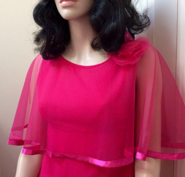 1970s Berketex Caliente Rosa Caped Maxi Vestido Reino Unido 10-ver