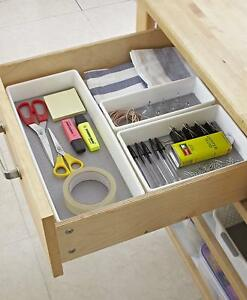 Details about Kitchen Drawer Organiser Storage Boxes Tray Utensil Cutlery  White Grey Set of 3