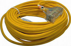 100ft 12 Gauge Extension Cord Yellow Sjtw W Lighted