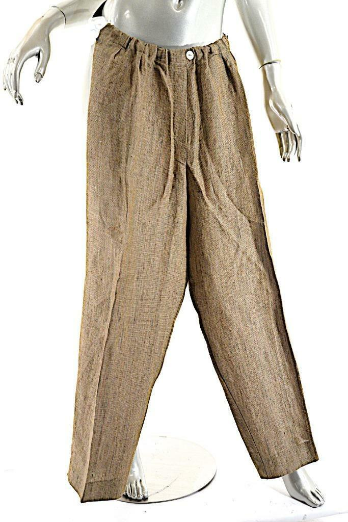 BERNARD ZINS Paris Brown Tan mariGold Tweed Linen Blend Elastic Waist Pant Sz 10