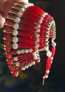 War Bonnet for Rear view Mirror. Sharp Red White /& Blue Headdress