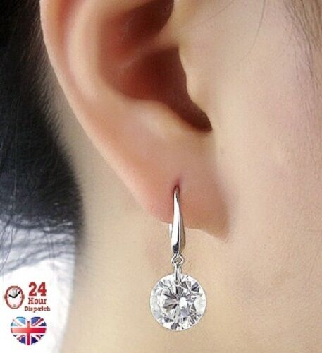 52f0e7a74 Sterling Silver Round Crystal Drop Earrings RZ Womens Ladies for sale  online | eBay