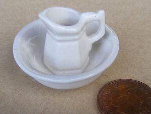 1-12-Scale-White-Ceramic-Jug-amp-Wash-Bowl-Tumdee-Dolls-House-Accessory-W105