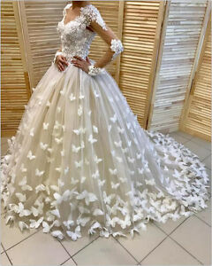 6fa9f75cf57b Image is loading 3D-Floral-Gorgeous-Butterfly-Appliques-Wedding-Dress-White-