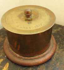 Military WWI Unusual Brass Trench Art Jar Lidded Container Arras 1917 (4706)