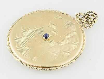 CARTIER Retro 1940s Sapphire 14K  Gold Portable Purse Mirror