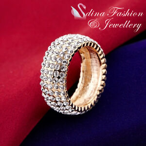 18K-Yellow-Gold-GP-Simulated-Diamond-Gorgeous-Extra-Sparkling-Studded-Band-Ring