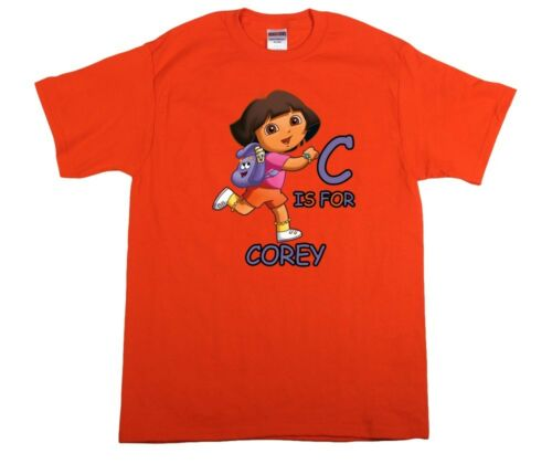 Dora the Explorer Personalized Custom ABC Birthday Shirt in 8 Different Colors
