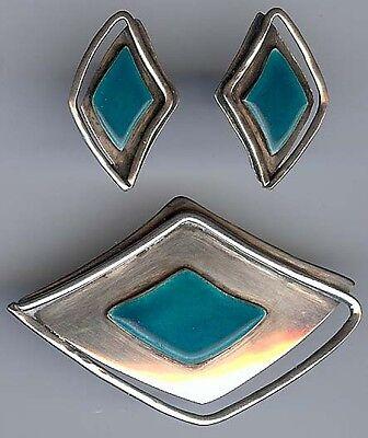 Vintage Blue Enamel Jewelry Vintage Enamel Sterling Silver Set