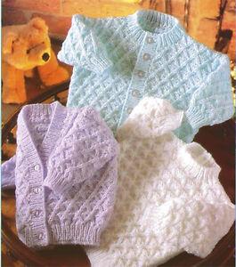 "Knitting Pattern DK Baby Cardigans & Sweater 16"" - 22 ..."