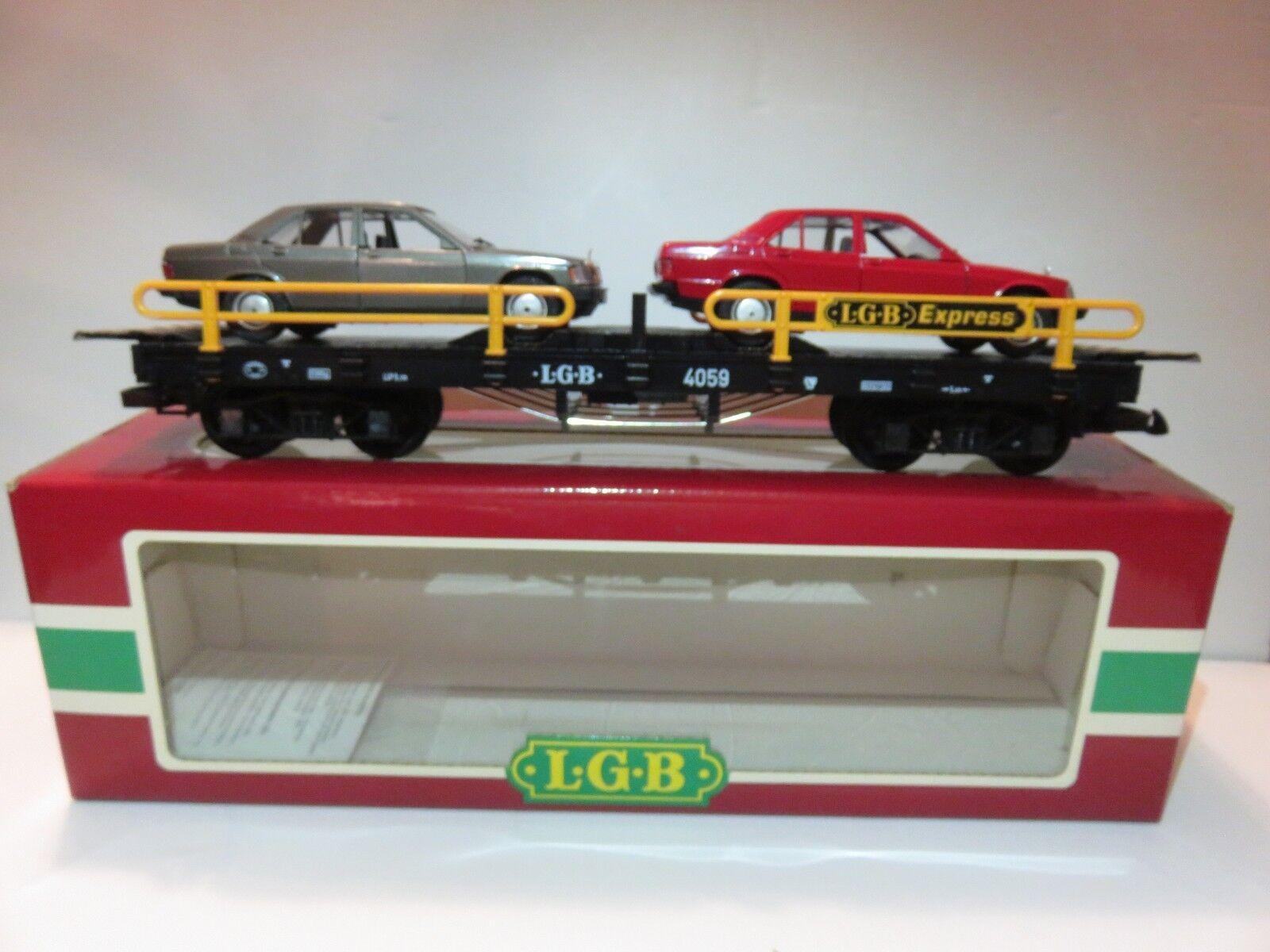 LGB LGB LGB Lehmann G Gague 4059 Car Carrier with 2 Mercedes Benz Models a2165f