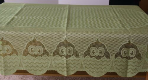 EASTER Lace Jacquard Oval TABLECLOTH with Chicks 100 x 150cm White//Yellow//Green