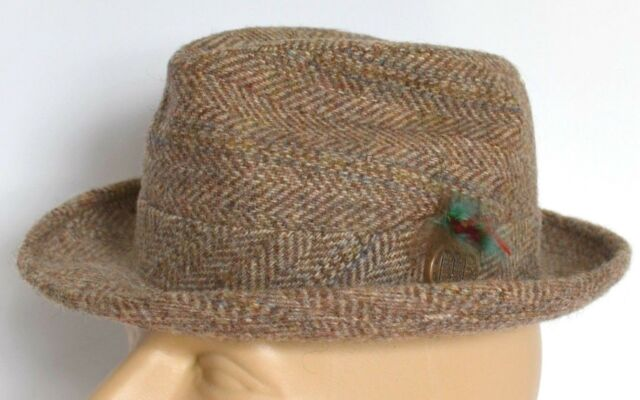 027024f7911 VTG Rosollino Fedora Men 7 Brown Tweed Wool Hat Cap Lined HIPSTER GANGSTER  Retro