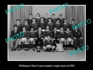 OLD-8x6-HISTORIC-PHOTO-OF-THE-WELLINGTON-MAORI-RUGBY-UNION-TEAM-1969-NZ