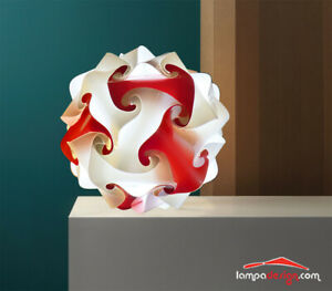 Lampada design Abatjour Bianca e rossa Tavolo comò terra scrivania 35cm MONTATA
