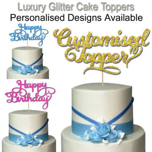Glitter Cake Topper Personalised Happy Birthday Cupcake Sign Text