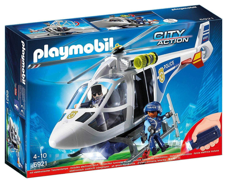 Playmobil City Action 6921- Hélicoptère Police avec Lumineuse conduit. De 4 à 10
